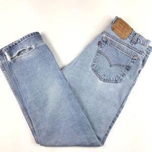 Super faded Levi's 505s high dad mom distressed